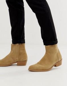 Светло-бежевые замшевые ботинки челси в стиле вестерн на кубинском каблуке с натуральной подошвой ASOS DESIGN - Светло-бежевый