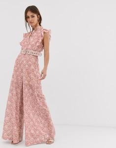 Комбинезон с широкими штанинами и вышивкой ришелье We Are Kindred - Розовый