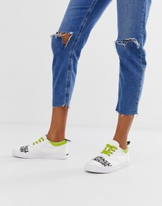 Love Moschino neon lace up logo trainers - Белый