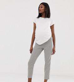 Зауженные брюки в клетку с полосками по бокам ASOS DESIGN maternity - Мульти