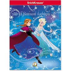 Цветной картон ErichKrause «Холодное сердце. Эльза и волшебство Северного сияния», А4, 10 листов, 10 цветов Disney