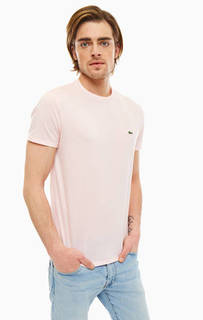 Однотонная розовая футболка с круглым вырезом Lacoste