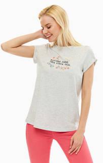 Хлопковая футболка с цветочной вышивкой Mustang