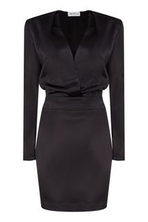 Черное платье мини с V-образным вырезом ЛИ ЛУ