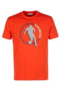 Оранжевая футболка с принтом Dirk Bikkembergs