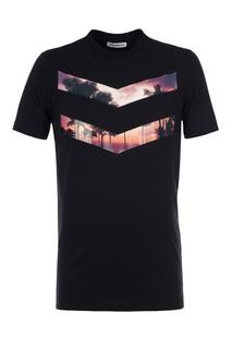 Черная хлопковая футболка с принтом Dirk Bikkembergs