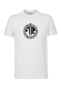 Белая футболка с контрастным принтом Dirk Bikkembergs