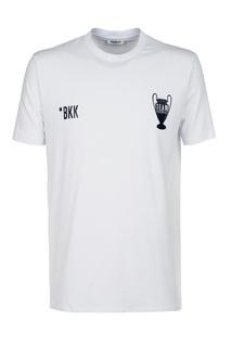 Белая футболка с комбинированным принтом Dirk Bikkembergs