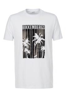 Белая хлопковая футболка с принтом Dirk Bikkembergs