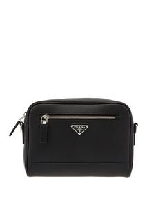 Черная борсетка с треугольным логотипом Prada