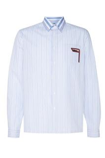 Полосатая сорочка с нашивкой на кармане Prada
