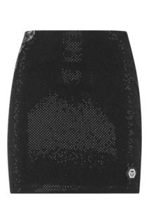 Черная юбка с кристаллами Philipp Plein