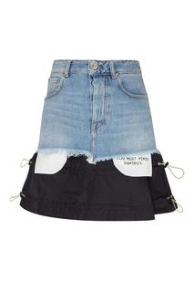 Короткая комбинированная юбка Unravel Project
