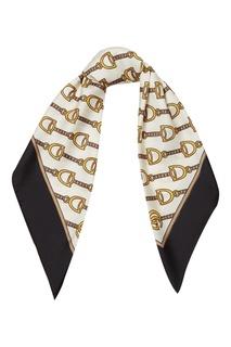 Черно-белый шелковый платок с принтом Gucci