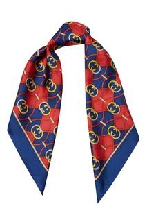 Красно-синий шелковый платок GG Gucci