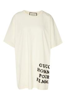 Хлопковая футболка оверсайз с надписью Gucci