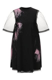 Платье с перьевой отделкой MCQ