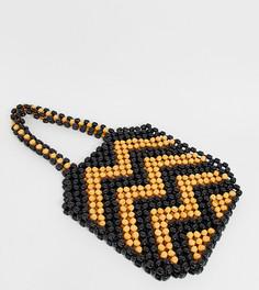 Эксклюзивная сумка на плечо из деревянных бусин South Beach - Коричневый
