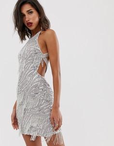 Платье мини с отделкой пайетками и бахромой ASOS EDITION - Серебряный