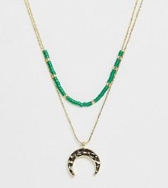 Позолоченное ожерелье с подвеской-полумесяцем и бисером Orelia - Золотой