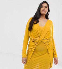 Платье мини горчичного цвета с драпировкой Koko & K Plus - Желтый