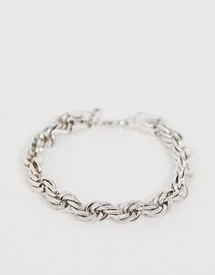 Серебристый браслет-цепочка с дизайном в виде перекрученной веревки WFTW - Серебряный