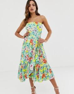 Летнее платье с цветочным принтом и оборками Naf Naf - Мульти