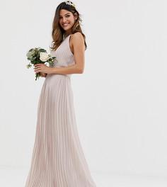 Эксклюзивное серо-коричневое плиссированное платье макси для подружки невесты с высоким воротом TFNC - Коричневый