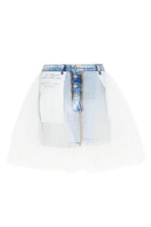Джинсовая мини-юбка с тюлем Unravel Project