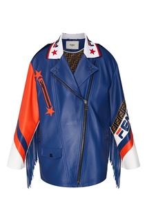 Кожаная куртка с контрастной отделкой Fendi