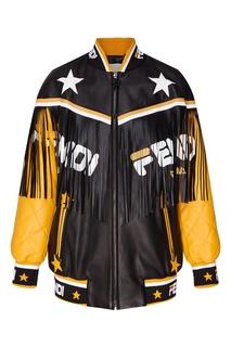 Контрастная кожаная куртка с бахромой Fendi