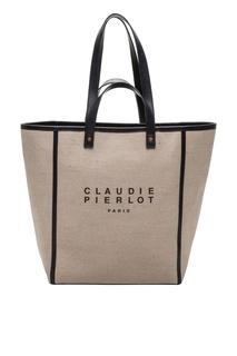 Бежевая сумка с логотипом Claudie Pierlot