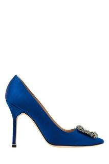 Туфли Hangisi синего цвета Manolo Blahnik