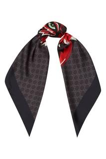 Шелковый платок с мотивом GG и волком Gucci