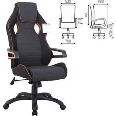 Кресло компьютерное Brabix Techno Pro GM-003 ткань, черное/серое, вставки оранжевые 531813