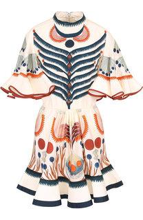 Шелковое мини-платье с принтом Chloé