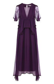 Однотонное шелковое платье-миди с оборками Chloé
