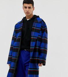 Синее удлиненное пальто в клетку COLLUSION - Синий