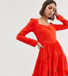 Ярусное платье мини с длинными рукавами COLLUSION - Розовый