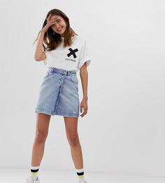Выбеленная джинсовая юбка с запахом COLLUSION - Синий