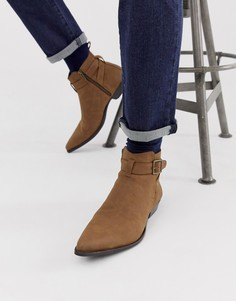 Светло-коричневые ботинки челси из искусственной замши на кубинском каблуке ASOS DESIGN - Рыжий