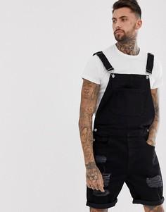 Черный джинсовый комбинезон с шортами и рваной отделкой ASOS DESIGN - Черный