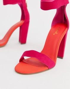 Босоножки на блочном каблуке с фигурным краем Qupid - Розовый