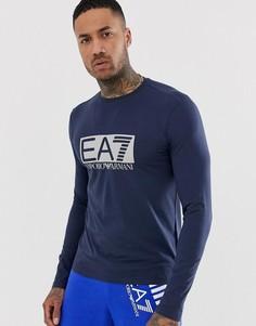 Темно-синий лонгслив с большим логотипом EA7 - Темно-синий
