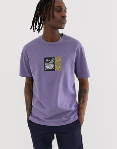 Сиреневая футболка с принтом на груди и спине Globe Hammered - Фиолетовый