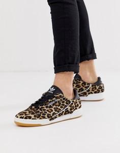 Кроссовки из кожи пони в стиле 80-х с леопардовым принтом adidas Originals Contintental - Коричневый