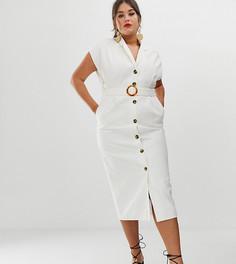 Джинсовое платье-рубашка миди с открытой спиной и поясом ASOS DESIGN Curve - Белый