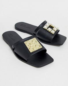 Черные кожаные шлепанцы с отделкой ASOS DESIGN Premium Fortunate - Черный