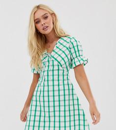 Чайное платье мини в клетку с завязкой Wednesdays Girl - Зеленый