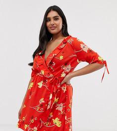 Красное платье с запахом, оборками, завязками на рукавах и цветочным принтом Influence Plus - Красный